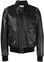Saint Laurent distressed effect bomber jacket