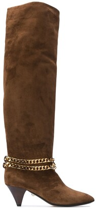 ALEVÌ Milano Camille chain-embellished knee-high boots