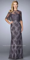 La Femme Removable Caplet Lace Embellished Evening Dress