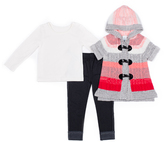 Little Lass Balck & Coral Stripe Sweater Set - Infant Toddler & Girls