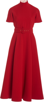 Emilia Wickstead Camilla Belted Pleated Crepe A-Line Dress