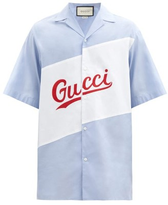 Gucci Logo-embroidered Cotton-poplin Shirt - Blue White
