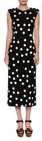 Dolce & Gabbana Half-Sleeve Lace-Trim Polka Dot Dress, White/Black