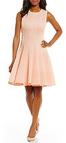 Calvin Klein Laser Cut-Out Scuba Crepe Seamed Flare Dress