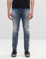 Diesel Sleenker Skinny Jeans 853L DNA Bleach Distressed Wash