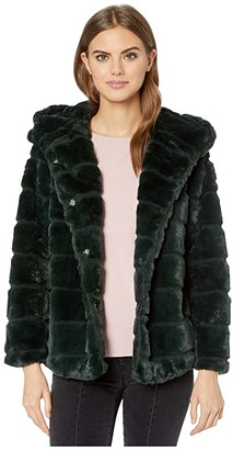 Apparis Goldie 3 Hooded Faux Fur Coat (Ivory) Women's Jacket