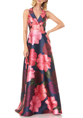 Kay Unger New York Floral-Printed Mikado Halter Gown with Pockets