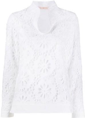 Tory Burch Floral Lace Cotton Top
