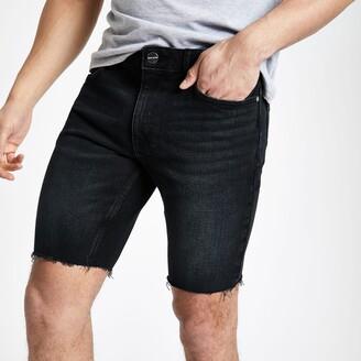 River Island Mens Blue black skinny fit denim shorts