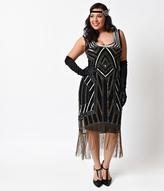 Unique Vintage Plus Size 1920s Black Deco Beaded Marceline Fringe Flapper Dress