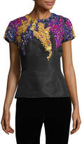Oscar de la Renta Women's Sequin Embroidered Peplum Top