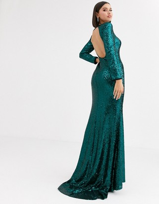 Club L London sequin open back fishtail maxi dress in emerald green