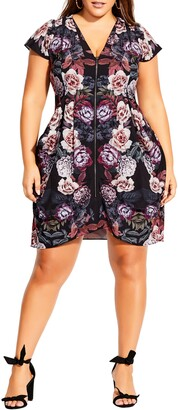City Chic Floral Print Zip Front Tunic