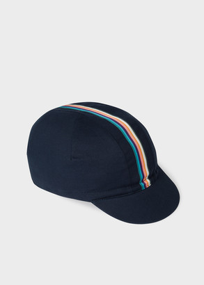 Paul Smith Men's Navy Cycling Cap With 'Artist Stripe' Webbing