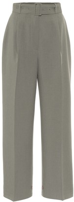 Frankie Shop Elvira crepe high-rise button-cuff pants