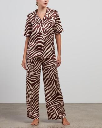 Maison Essentiele - Women's Multi Pyjamas - Silk Short Sleeve Shirt & Pants Set - Size S at The Iconic