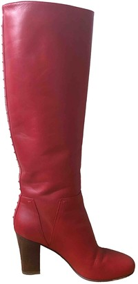 Valentino Rockstud Red Leather Boots