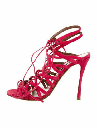 Tabitha Simmons Suede Caged Sandals Magenta