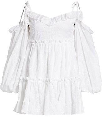 Wandering Off-the-Shoulder Blouson-Sleeve Lace Mini Dress