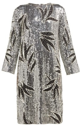 Dodo Bar Or Clara Floral Sequinned And Beaded Shift Dress - Silver