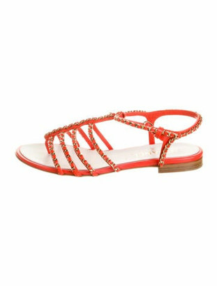 Chanel 2018 Chain-Link Sandals Chain-Link Accent Slingback Sandals Orange