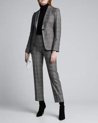 Kiton Checked Wool-Cashmere One-Button Blazer