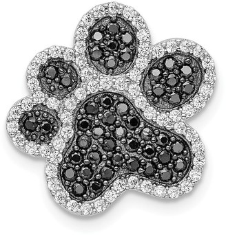 Curata 17.3mm 925 Sterling Silver Rhodium plated Black White CZ Cubic Zirconia Simulated Diamond Dog Cat Pet Paw Print Pendant N