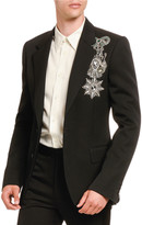 Alexander McQueen Men's Jeweled Military Emblem Two-Button Jacket