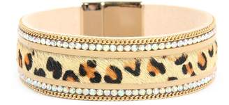 Riah Fashion Leopard-Leather-Rhinestone Magnetic-Lock-Bracelet