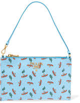 Prada Printed Textured-leather Pouch - Light blue