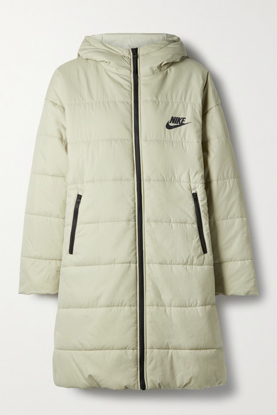 Nike Appliqued Quilted Padded Shell Parka - Beige