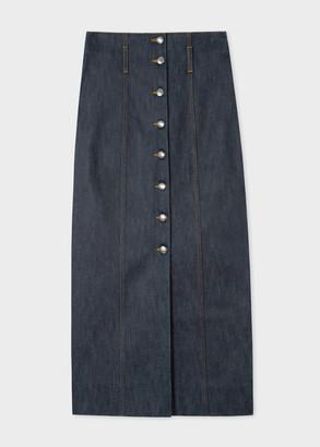 Paul Smith Women's Indigo Denim Midi Skirt
