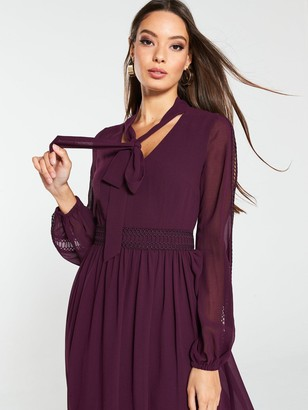 Very Lace Trim Soft Woven Midi Dress - Purple