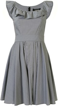 Paule Ka Checked Ruffle Neck Dress