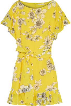 Alice + Olivia Ellamae Belted Floral-print Chiffon Mini Dress