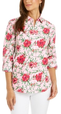 Charter Club Linen-Blend Printed Tab-Sleeve Shirt, Created for Macy's
