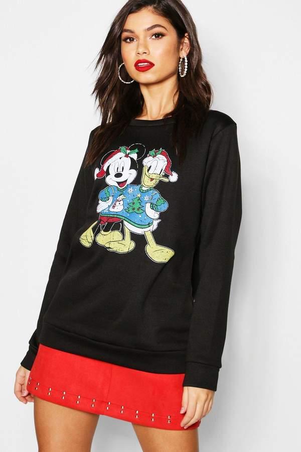 boohoo Disney Christmas Mickey & Donald Sweatshirt