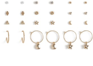 Topshop Freedom At Pack of 12 Star and Moon Earrings