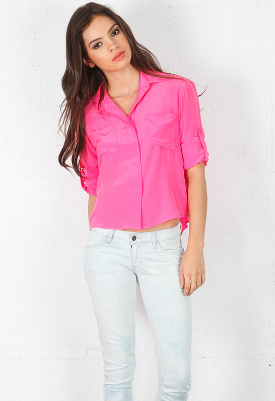 Chelsea Flower Cropped Roll Sleeve Top in Neon Pink -