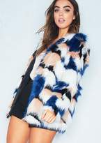 Missy Empire Missyempire Cleo Multicoloured Blue Shaggy Faux Fur Coat