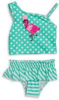 Flapdoodles Girls 2-6x Little Girls Mixed Patterned Flamingo Tankini Set