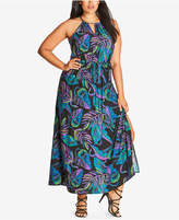 City Chic Trendy Plus Size Printed Halter Maxi Dress