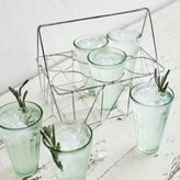 Sur La Table Wire Caddy and Juice Glasses, Set of Six