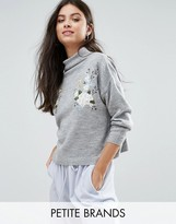 New Look Petite Embroidered High Neck Sweatshirt