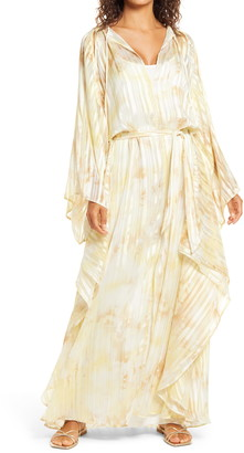 Ilse Jacobsen Shadow Stripe Floral Long Sleeve Belted Maxi Dress