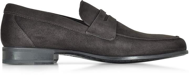 Moreschi Graz Dark Brown Suede Loafer Shoe w/Rubber Sole
