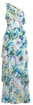 Lauren Ralph Lauren Ralph Lauren Paisley Ruffle-Trim Georgette Gown