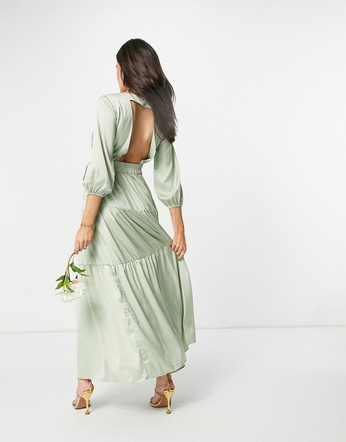 Thumbnail for your product : Y.A.S Bridesmaid maxi dress with cut out back and wrap front in sage green