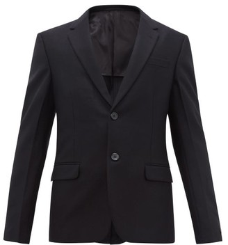 Prada Single Breasted Virgin Wool Blazer - Mens - Black