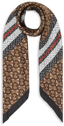 Burberry Monogram & Icon-Striped Square Silk Scarf